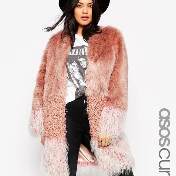 7de8533036f38 ASOS Jackets & Coats   Pink Curve Coat In Patch Faux Fur 8   Poshmark